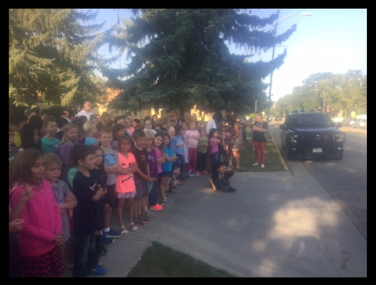 Mancos Elementary School at the Horse Naming Contest cheering on the winners of the contest.